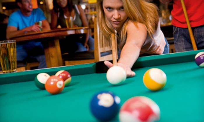 Miss Cue Sports Cafe - Multiple Locations: Billiards Package for Two or Four with Hot Dogs, Sodas, and Fries at Miss Cue Sports Cafe (Up to 58% Off)