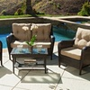 Haiden Outdoor Brown Wicker 4-Piece Loveseat Set