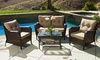 Haiden Outdoor Brown Wicker Loveseat Set