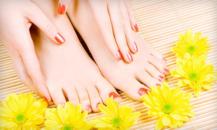Shampoo Salon  - Palm Beach Par 3 Gof Course: One or Three Traditional or Shellac Manicures with Regular Pedicures at Shampoo Salon (Up to 64% Off)