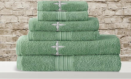 Abilene, TX: 6-Piece 100% Egyptian Cotton Jacquard or Embroidered Towel Set
