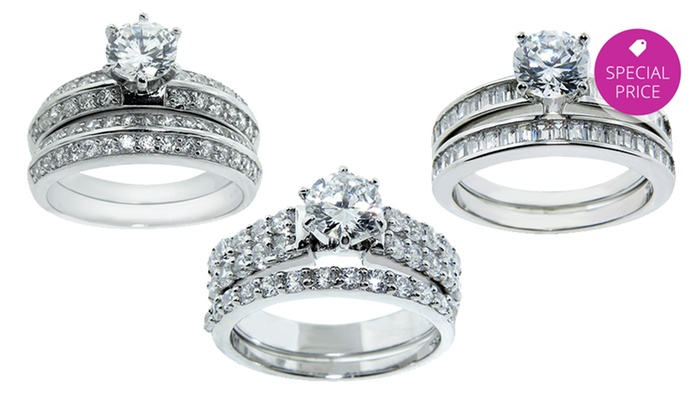 2 piece sterling silver and cubic zirconia wedding ring sets 2 piece - Cubic Zirconia Wedding Ring Sets