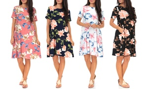 Women's Floral T-Shirt Dress with Pockets. Plus Sizes Available.