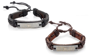 Men's Leather Adjustable Lord's Prayer Bracelet by Crucible