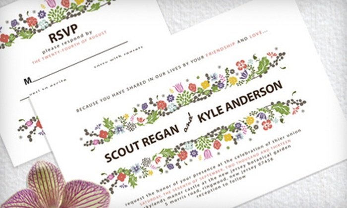 Pretty Little Prints: 50 or 100 Wedding Invitations from Pretty Little Prints (Half Off)