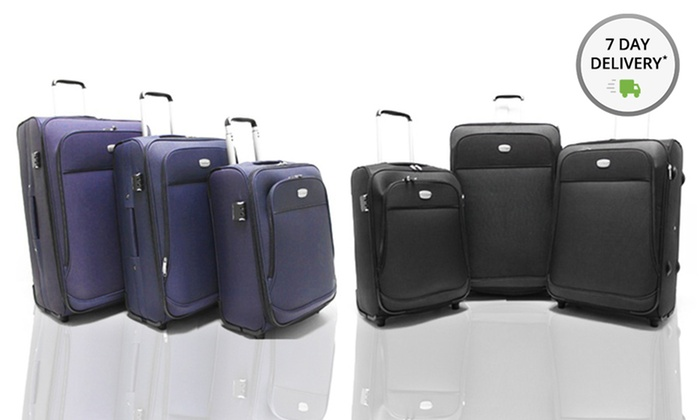 3-Piece Luggage Set: 3-Piece Luggage Set in Black or Navy