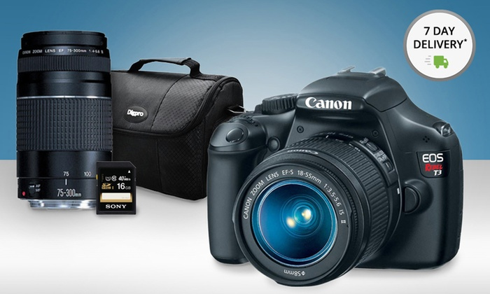 Canon EOS Rebel T3 Camera Two-Lens Bundle: Canon EOS Rebel T3 Camera Two-Lens Bundle with 16GB Memory Card and Camera Bag. Free Returns.