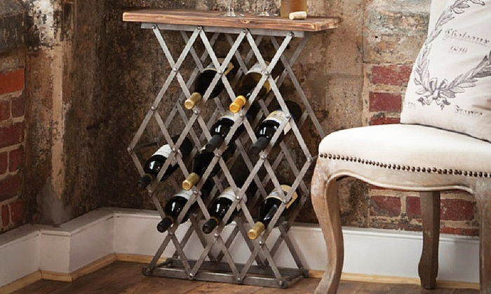 Metal Wine Rack With Wooden Top Groupon
