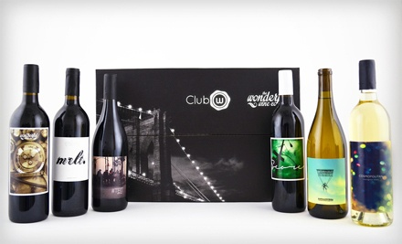 $45 for Six Bottles of Curated Classic American Wines, Featuring Two Whites and Four Reds from Club W ($96 Value)