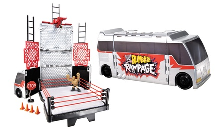 WWE Rumblers Transforming Tour Bus Play Set with The Rock Figurine. Free Returns.