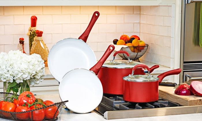 6-Piece Supreme World Class Ceramic Cookware Set: 6-Piece Supreme World Class Ceramic Cookware with 2 Frying Pans and 2 Stock Pots with Lids. Free Returns.