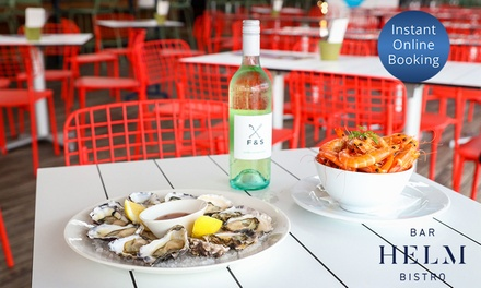 Prawns and Oysters with Bottle of Wine for Two ($49) or Four People ($98) at Helm Bar (Up to $208 Value)