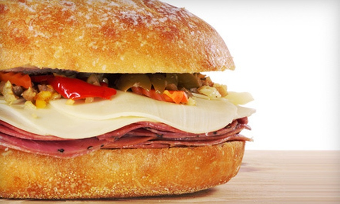Muffalettas Catering - Rosemont: Muffuletta Meal with Sandwich and Drinks for Two or Four at Muffalettas Catering in North Charleston (Up to 59% Off)