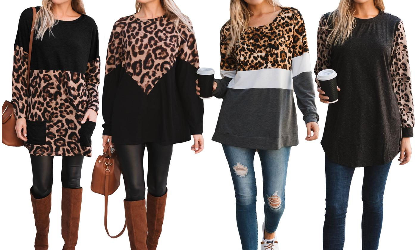Women's Long Sleeve Leopard Tunics. Plus Sizes Available