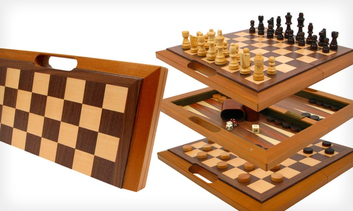 Wooden Three In One Chess, Backgammon, And Checkers Set: Wooden Three ...