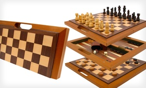 Three-in-One Wooden Game Set