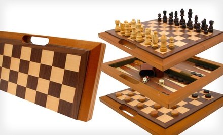 Wooden Three-in-One Chess, Backgammon, and Checkers Set