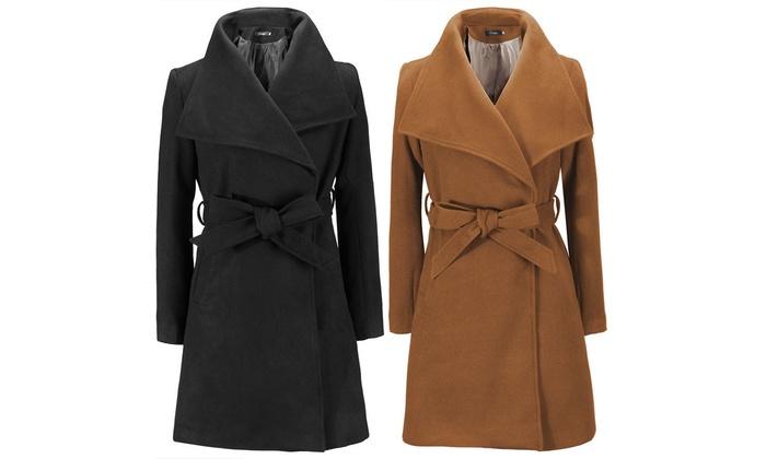 Bis zu 49% Rabatt Eleganter Mantel mit Bindegürtel   Groupon