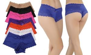 Cheeky Lace-trim Boyshort Panties (6-pack)