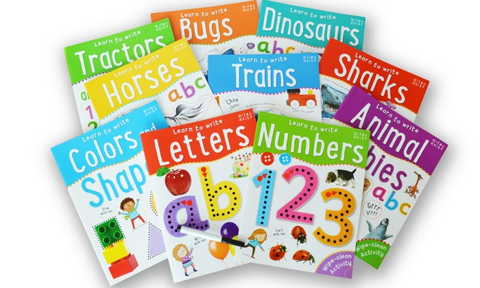 Books children kids learn to write wipe clean learning