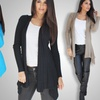 OhConcept Women's Cascading Ribbed Open Cardigans