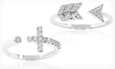 groupon daily deal - Cubic Zirconia and Sterling Silver Ring. Multiple Designs Available. Free Returns.