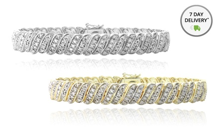 1-Carat Diamond Tennis Bracelet in Gold or Silver Tone. Free Returns.