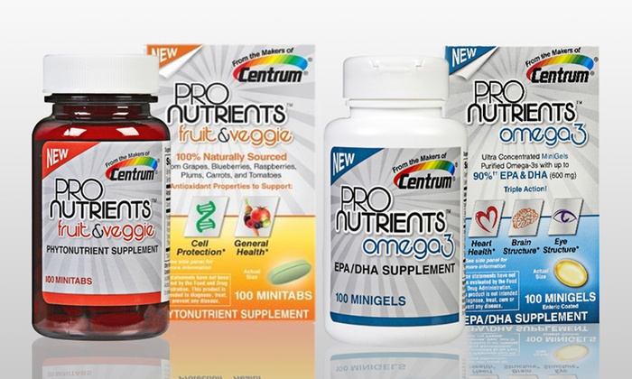 Centrum ProNutrients Supplements: $19 for Two Bottles of Centrum ProNutrients Omega-3 or Fruit & Veggie Antioxidant supplement (Up to Half Off). Free Shipping.