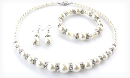 groupon daily deal - 3-Piece Swarovski Elements and Pearl Necklace, Bracelet, and Earrings Set. Free Returns.