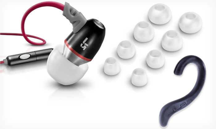 JLab JBuds J5M Metal Earbuds with Universal Mic and Sport Hooks: JLab J5M Earbuds with Sport Hooks. Multiple Colors Available. Free Returns.