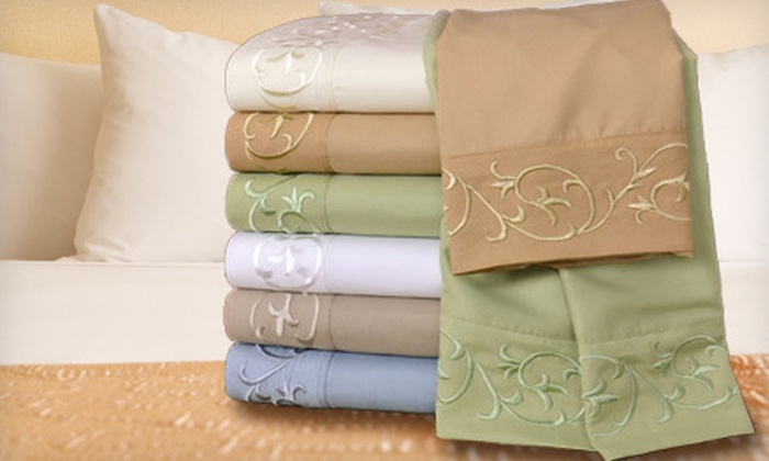 Regency Scroll Microfiber Sheet Set : $25 for a Regency Scroll Four-Piece Embroidered Microfiber Sheet Set ($69.99 List Price). Multiple Size and Color Options Available.