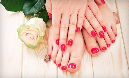 One manicure and pedicure