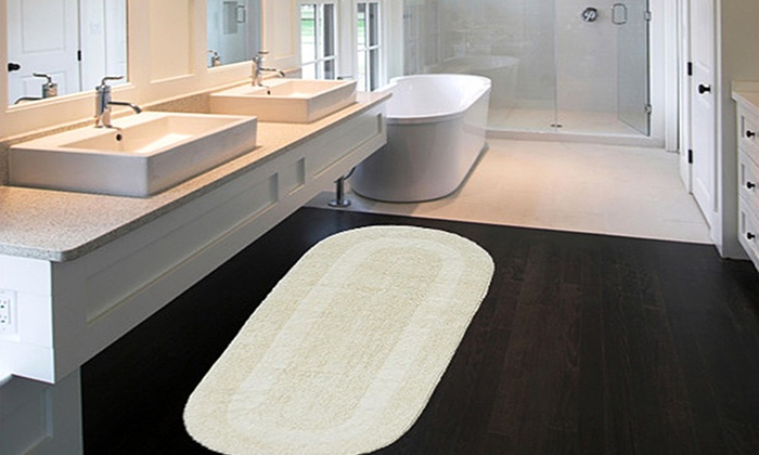 Attractive Extra Large 24 X60 Double Vanity Reversible Cotton Bath Rugs