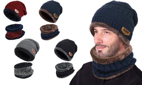 Set de bonnet et tour de cou tricot en doublure polaire unisexe