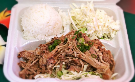 Takeout Hawaiian Food at The Shak Hawaiian Cafe (Half Off). Two Options Available.