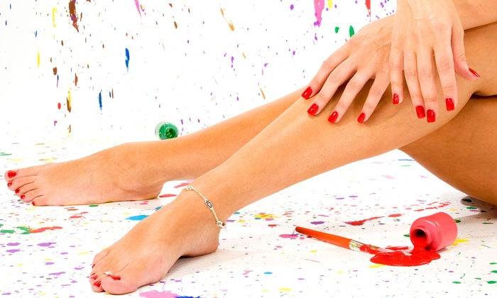 Blue Aruba Nails - Independence: One or Three Mani-Pedis at Blue Aruba Nails (Up to 56% Off)
