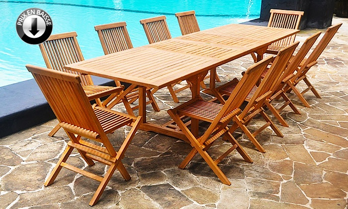Salon jardin Teck brut ou huilé | Groupon Shopping