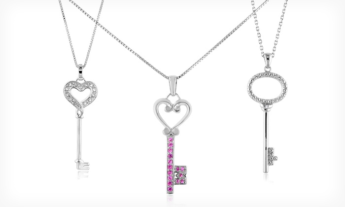 Diamond or Gemstone Pendant Necklaces: Pendant Necklaces with Diamond or Sapphire Accents (Up to 85% Off). Six Options Available. Free Shipping and Returns.
