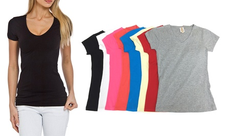 Women's V-Neck T-Shirts in Assorted Colors (8-Pack)