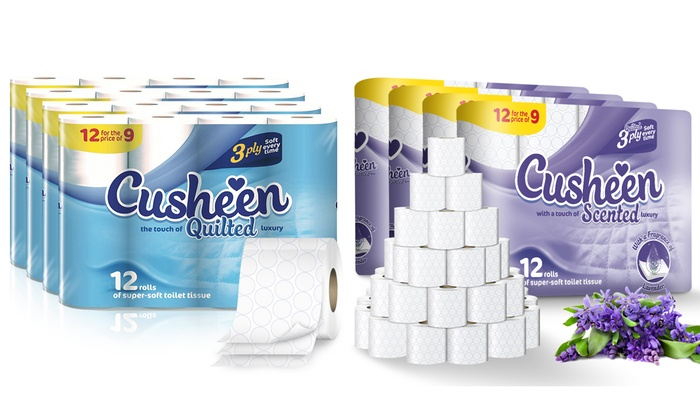 60 or 120 Rolls of Cusheen Lavender Toilet Paper or Luxury White Toilet Tissues