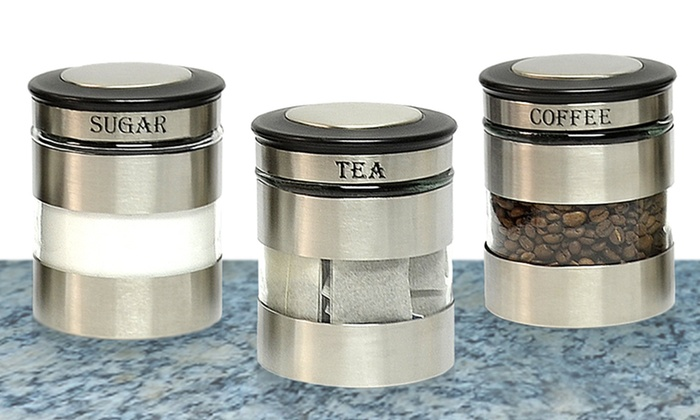 kitchen canister sets stainless steel stainless steel canister sets groupon goods 7532