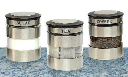 stainless steel canister sets groupon goods. Black Bedroom Furniture Sets. Home Design Ideas