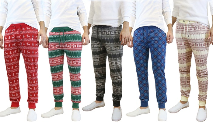 42ab1b02f Galaxy by Harvic Men's Slim-Fit French Terry Ugly Christmas Joggers