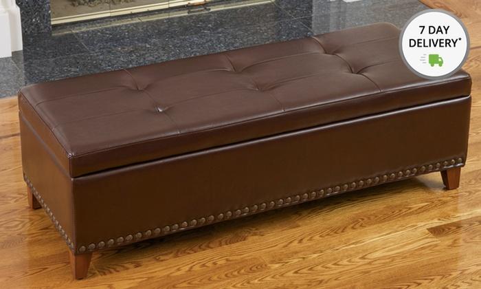 Charleston Brown Leather Storage Ottoman: Charleston Brown Leather Storage Ottoman. Free Shipping.