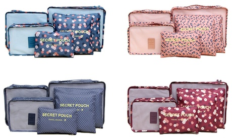 One or Two Six-Piece Patterned Luggage Organiser Sets