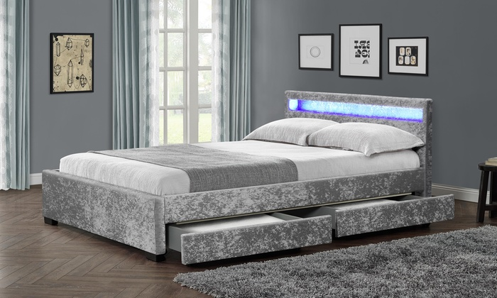 Attractive Groupon Goods Global GmbH: Comet LED Velvet Bed Frame With Optional  Mattress With Free Delivery ...
