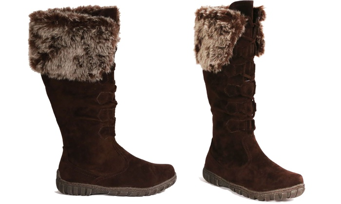 ... Bucco Suede Faux Fur Lined Women s Boots 68cbed8f42