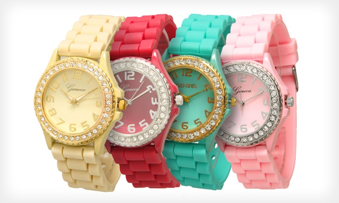 Geneva Women's Crystal-Embellished Silicone Watches: $4.99 for a Geneva Women's Crystal-Embellished Silicone Watch ($19.99 List Price). 23 Colors Available. Free Returns.