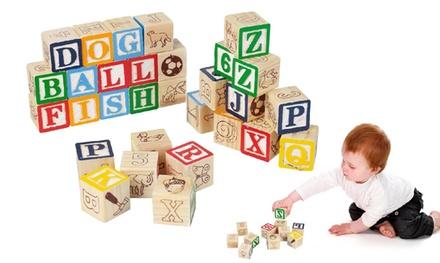 Cubos de madera para niños de 30 piezas con letras y números
