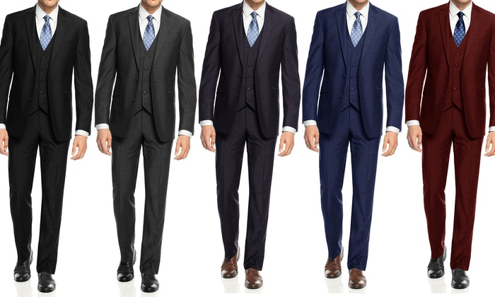 Braveman Big and Tall Slim-Fit 3-Piece Suit with Free Tie